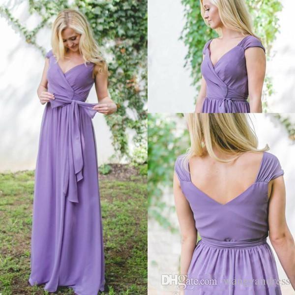Fioletowy Kraj Druhna Suknie Linia V Neck Proste Szyfonowe Backless Wedding Party Suknie Custom Made