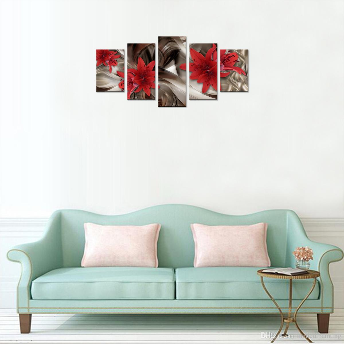 Amosi Art 5 Pieces Canvas Red Lily Flower Wall Art Print for Living Room Bedroom Office Painting Wall Home Decorations Artwork Unframed