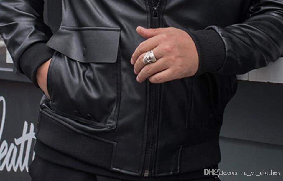 Großhandel Herbst Wintermode Europa Und Die Vereinigten Staaten Neue Art Schlanke Trend Boutique Herren Revers Große Größe Lose Lederjacke M 4XL Von