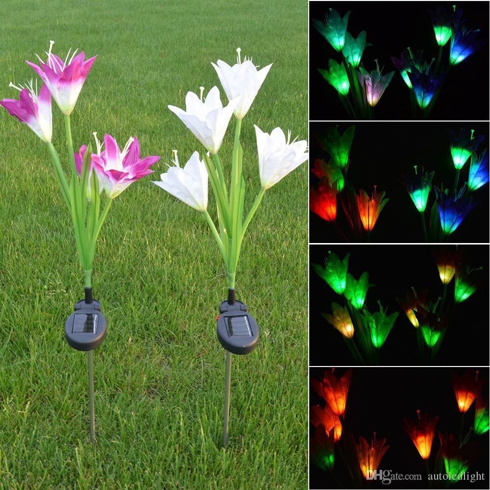LED 태양 정원 조명 LED 태양 에너지 꽃 정원 스테이크 라이트 색상 변경 야외 정원 경로 마당 장식 4 LED 꽃 빛