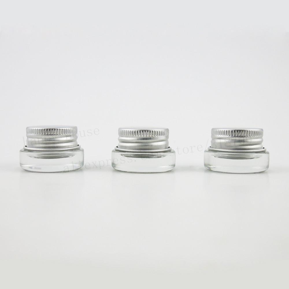 360 x Viagem 3G Mini creme para os olhos pele de vidro compõem o frasco com tampa de alumínio branco pe pad 3CC frasco de vidro de embalagem recipiente para cosméticos