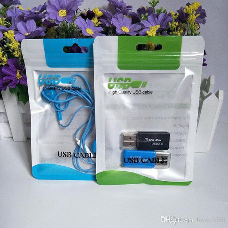 10.5 * 15 cm Paquete de paquete de la cremallera de color al por menor Paquete de embalaje Para el cargador micro USB Cable de sincronización de datos auricular de audio iphone X más 8 Galaxy S10 huawei P10