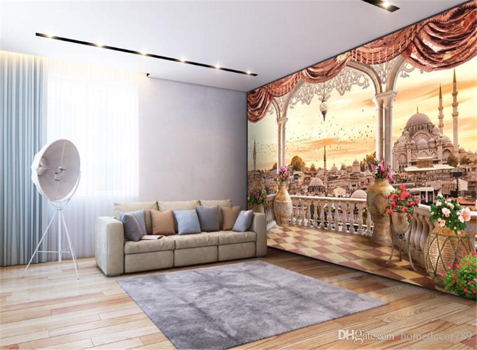 Acheter Personnalisé Grand Moderne 3d Papier Peint Mural Non Tissé Balcon  Paysage Turc 3d TV Canapé Salon Fond Décor À La Maison De $39.71 Du ...