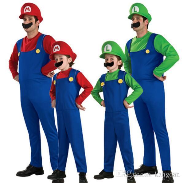 Halloween Bambini Costume Cosplay Super Mario Luigi Brothers tuta Idraulico Fantasia Costume Party 3 pz 1 set pagliaccetto + cappello + Barba all'ingrosso