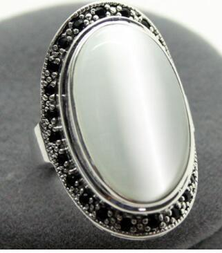 Бесплатная доставка unsex 17x30 мм прозрачный опал Овальный стерлингового серебра 925 марказит кольцо размер 8/9/10 valentise в подарок