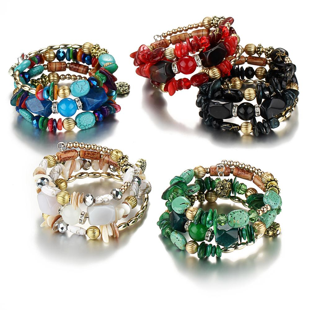 AY Bohemian Beads Crystal Charms Bracelets For Women Ethnic Tibet Multilayer Imitation Natural Stone Bracelets &Bangles Gift
