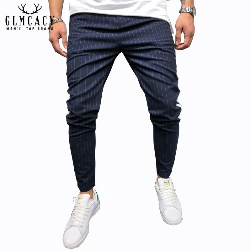 Men's Ankle Pants Streetwear Side Stripes Checkered Trousers Casual Slim Fit Street Fashion