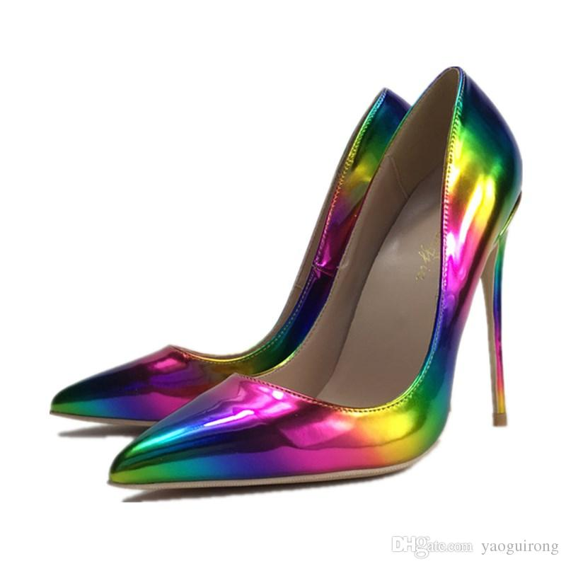 Rainbow candy color Woman high heel Pointed Toe Sexy Pumps Thin heel female dress shoes stiletto heels OL out fits Plus 44 45