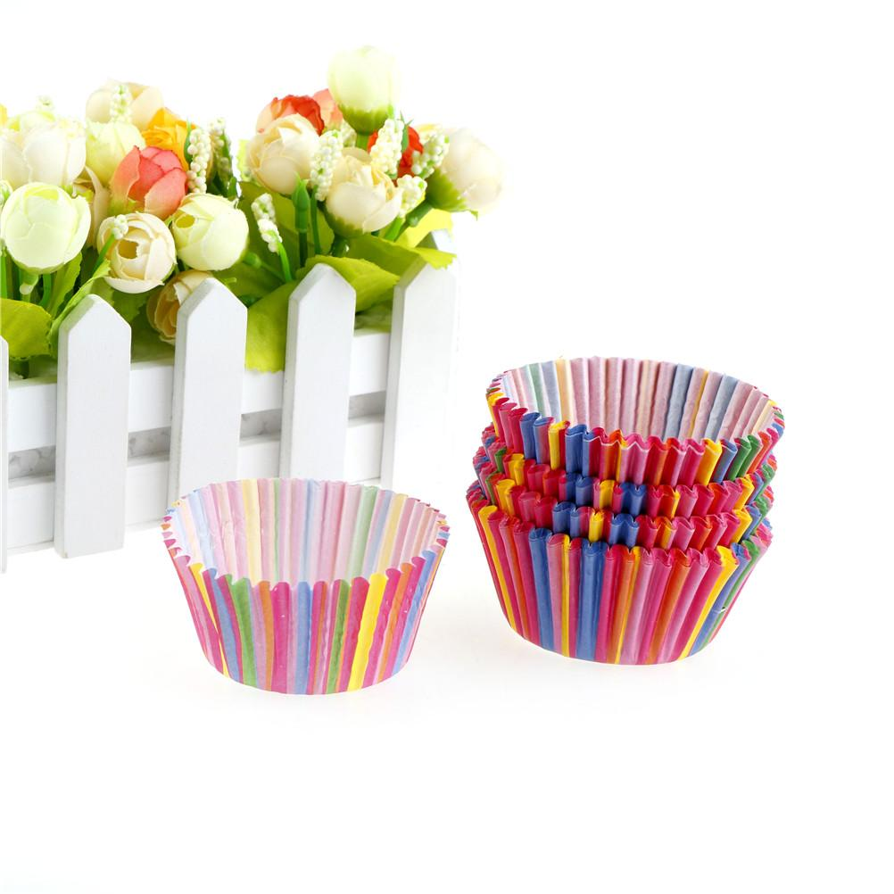 new 100pcs/lot Rainbow Greaseproof Paper Cupcake Liners Cases with PVC Clear Packing Box Paper Baking Cups quality
