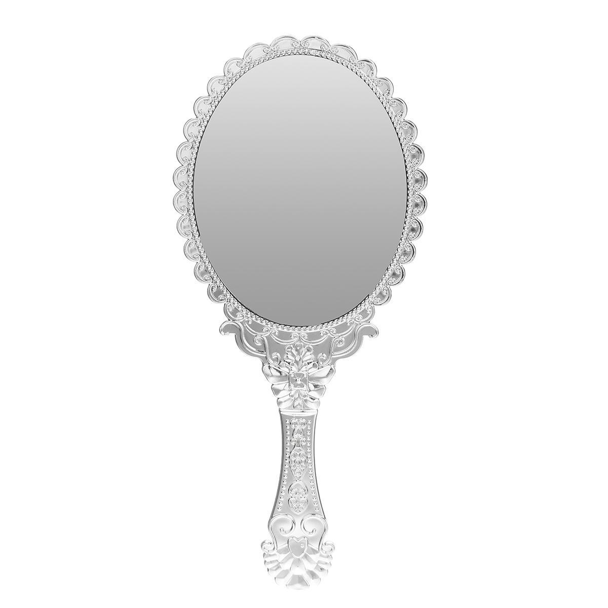 1 stücke Nette Silber Vintage Damen Blumen Repousse Oval Runde Make-Up Hand Halten Spiegel Prinzessin Dame Make-Up Schönheit Kommode Geschenk