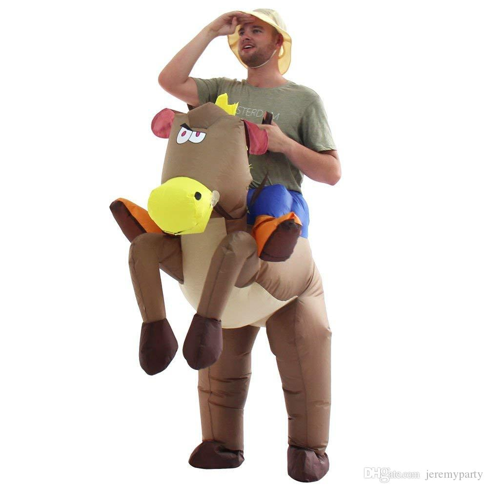 Adultes Cheval gonflable Enfant Rider Costumes d'Halloween Blow Up Costume Party Carnival Fantaisie Costume Avec Fan