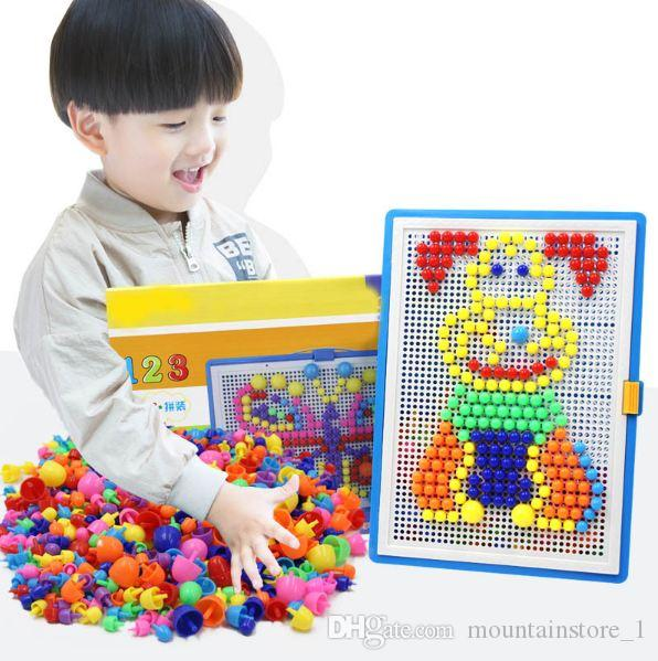 Newly 296pcs Mosaic Picture Puzzle Toy Children Composite Intellectual Educational Mushroom Nail Kit Toys With Retail Box