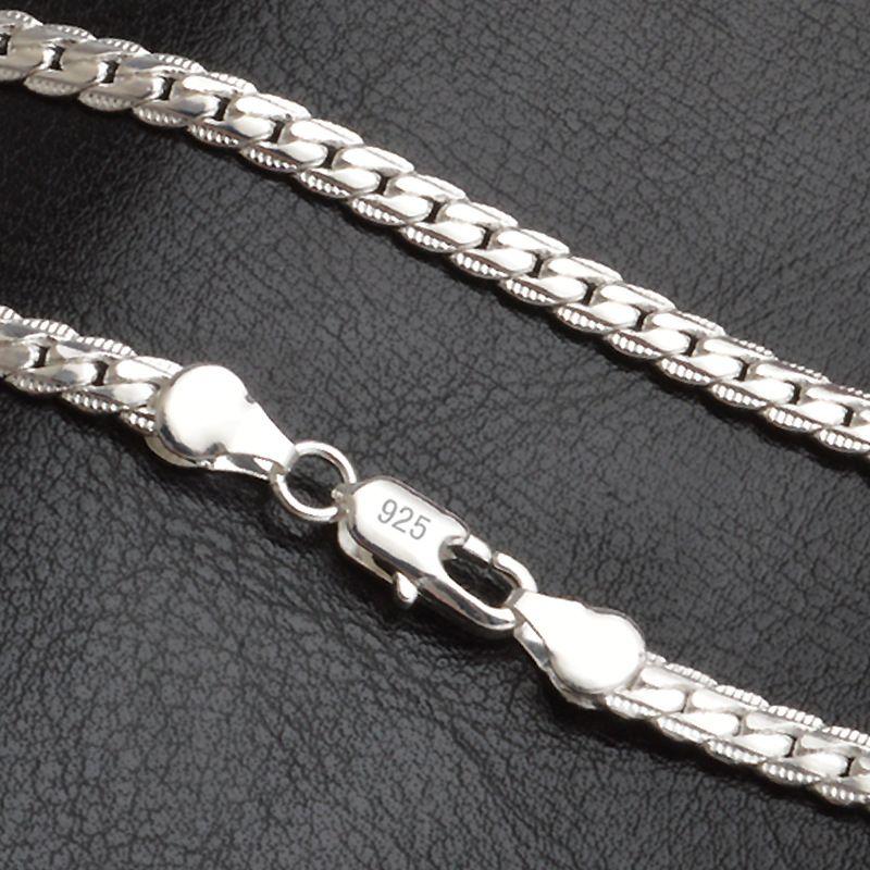 20 Trendy uomini chain della collana 925 pollici 5MM per la collana del partito di modo delle donne d'argento Figaro catena Boy Accessori