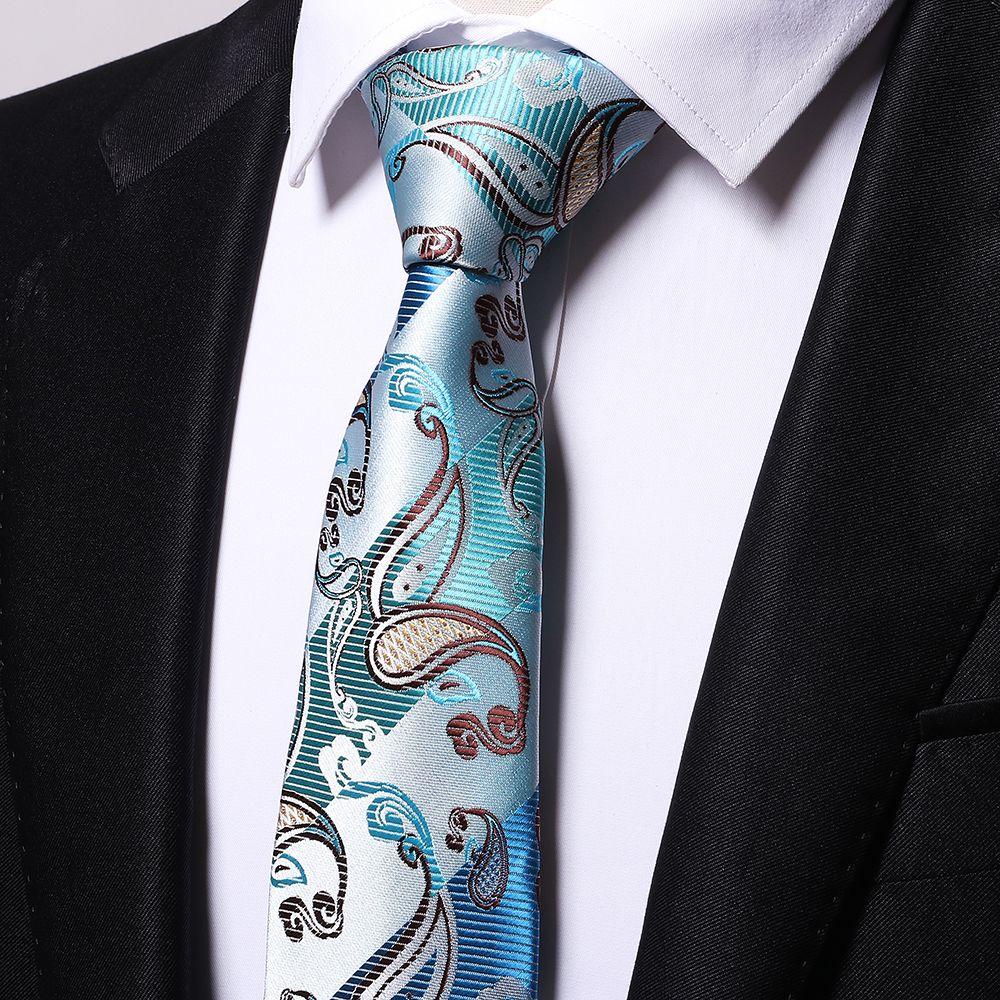 Atacado azul paisley laços homens 2017 casamento cravate jacquard tecido Gravata Partido Business Formal Presente de Aniversário B0009