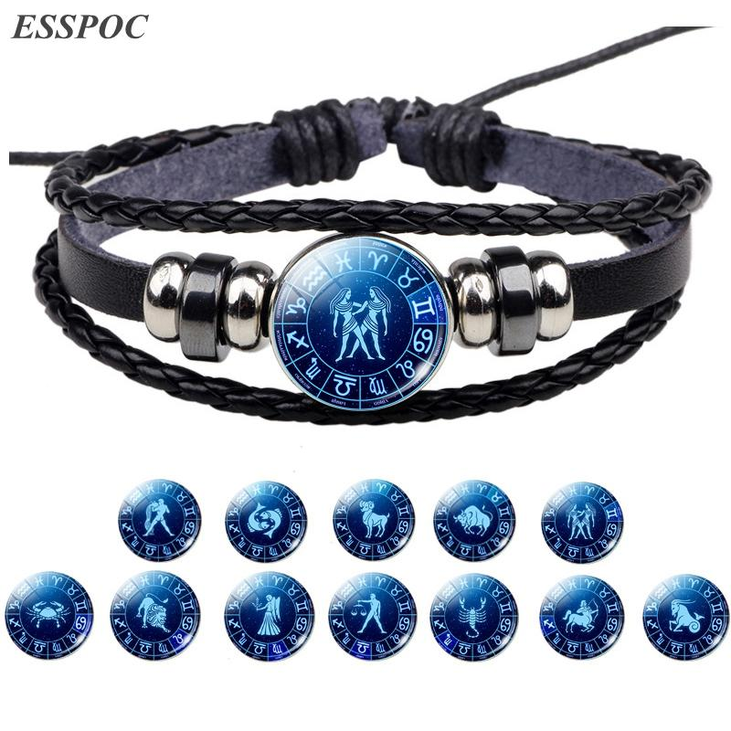 My Shape 12 Constellation Fashion Bracelets Leather Libra Zodiac Snap Button Jewelry