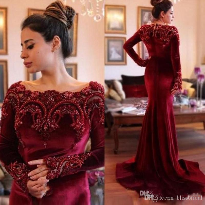 Long Sleeves Burgundy Fashion Velvet Mother Of Bride Dresses Beads Crystals Mother's Dresses Wedding Party Gown Groom Mom Evening Dresses