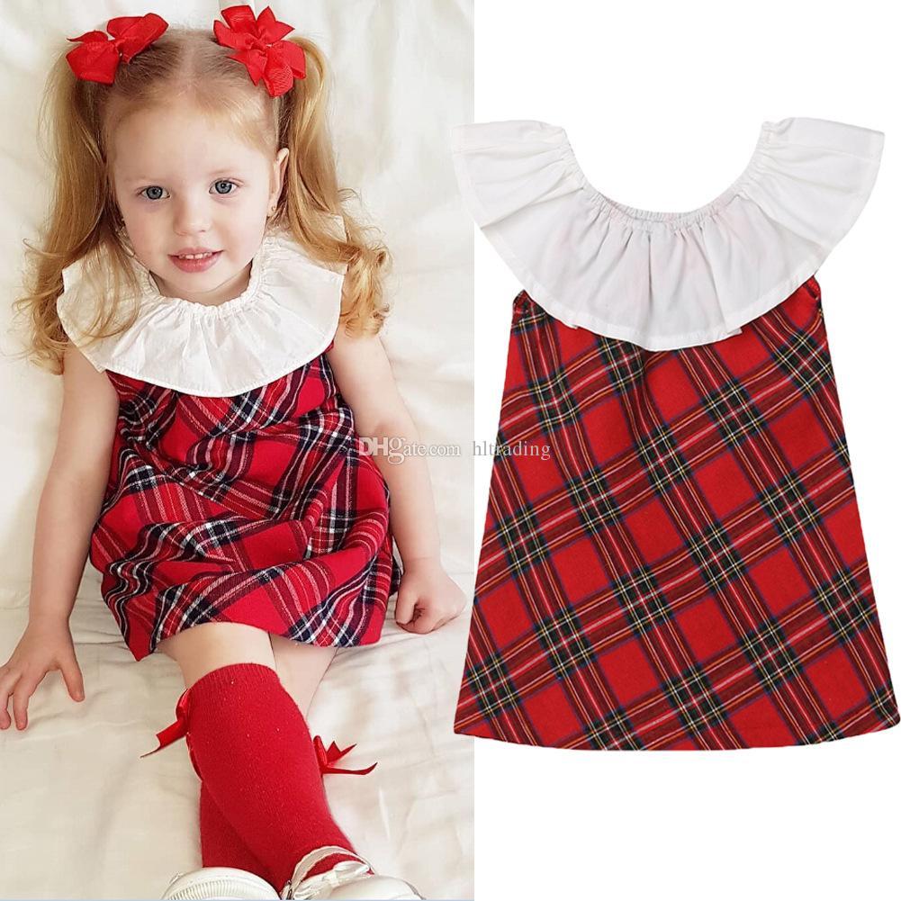 Baby girls Christmas Plaid dress children Xmas lattice Lotus leaf collar princess dresses Spring Autumn Fashion boutique Kids Clothing C5441