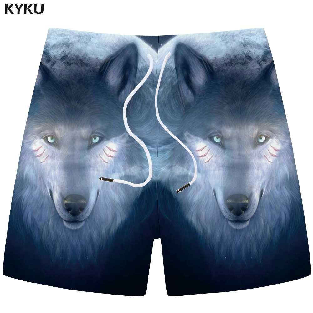 KYKU Wolf Shorts Men Animal Cargo Short Pants Casual Fitness Moon 3d Printed Shorts Blue Cool Hip Hop Mens New Summer