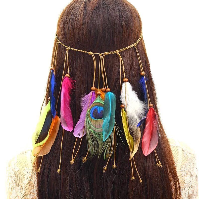 Böhmen Pfau-Feder-Stirnbänder Mädchen Mode Hippie Indische nationale Gewebtes Haar Gürtel Verzierung Barrette 6 Farben Großhandel