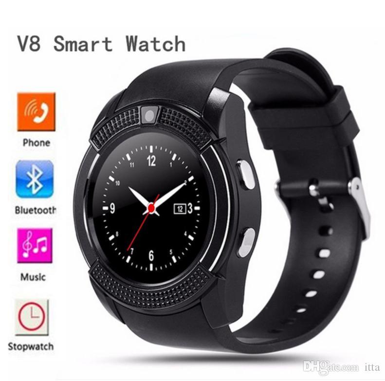 V8 Bluetooth Smartwatch с Sim-картой TF для женщин мужчин детские спортивные наручные часы поддержка 0.3 M камеры для Android