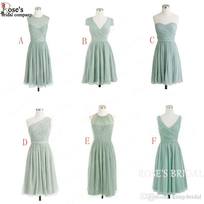 Sage Green Short Bridesmaid Dresses 2018 Chiffon Cheap Junior Custom Wedding Party Dresses Vestido De Madhina