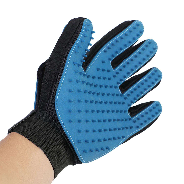 Темно-синий двойной стороны Пэт ванна перчатки для удаления волос массаж силиконовая щетка для кошки собаки универсальная рука