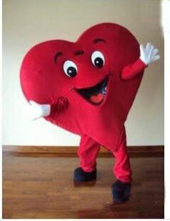 2018 venda de fábrica de desconto Tamanho adulto Traje de mascote de coração vermelho Fantasia de mascote de coração frete grátis