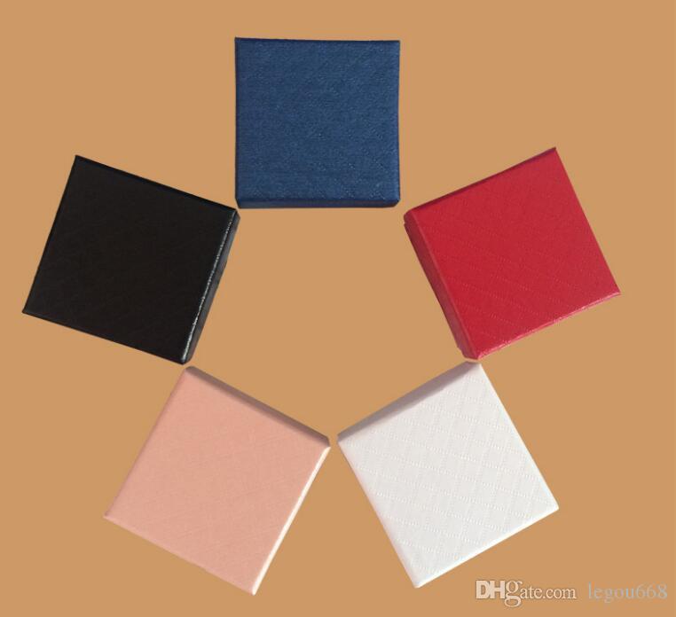 5 * 5 * 48PCS 3CM عرض مجوهرات مربع / الكثير متعدد الألوان BlackSponge الماس Patternn ورقة حلقة / الأقراط مربع التعبئة والتغليف هدية مربع GA56