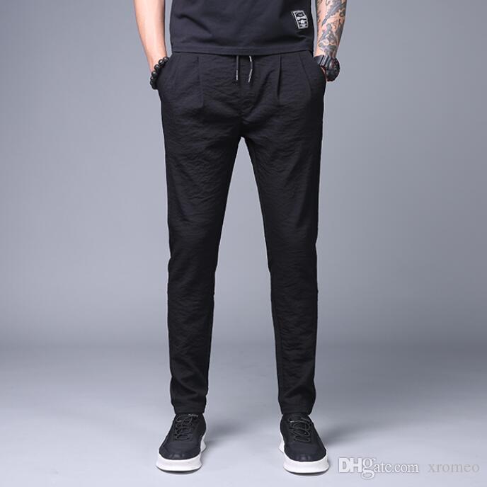 Pantaloni Harem in lino da uomo Pantaloni casual in cotone a tinta unita Pantaloni sportivi con gamba piccola con coulisse Elastico in vita Tasche posteriori Pantaloni sportivi MB