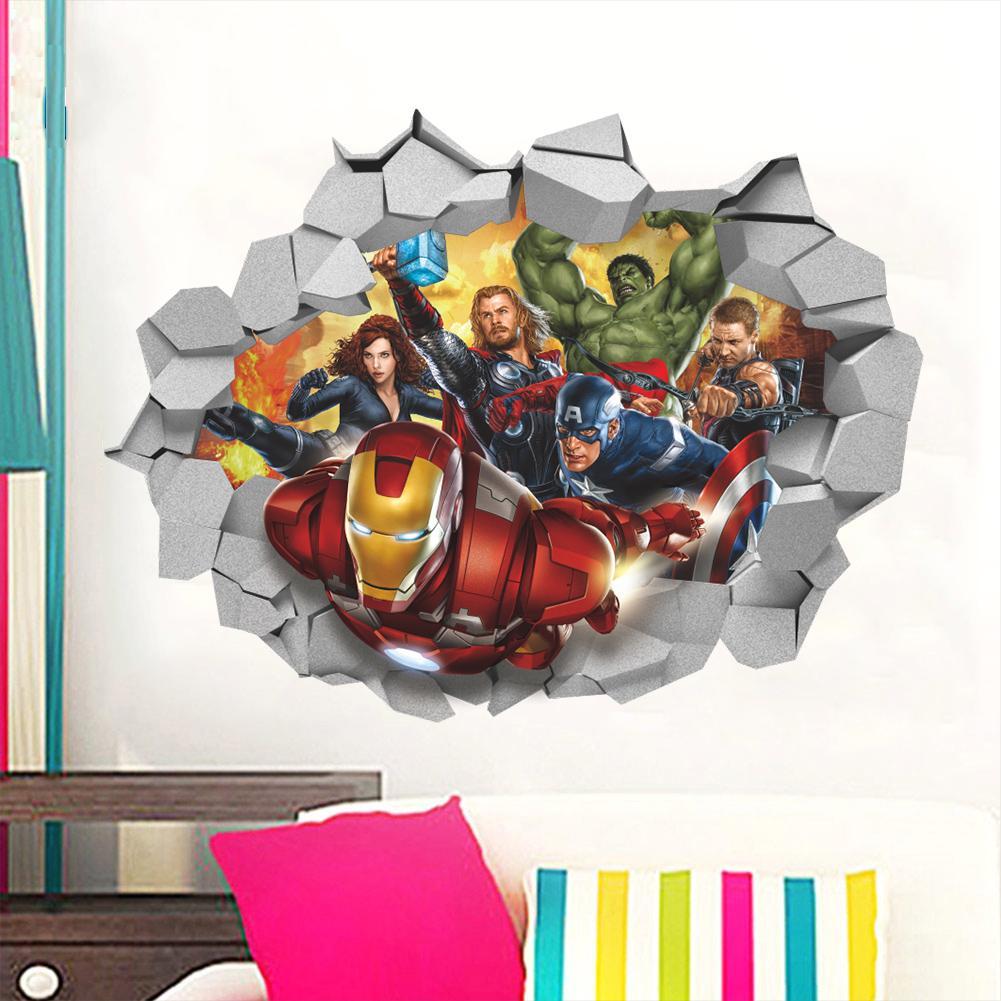 Spiderman Iron Man 3D Smashed Mur Decal Autocollant Vinyle Décoration Porte Voiture Murale