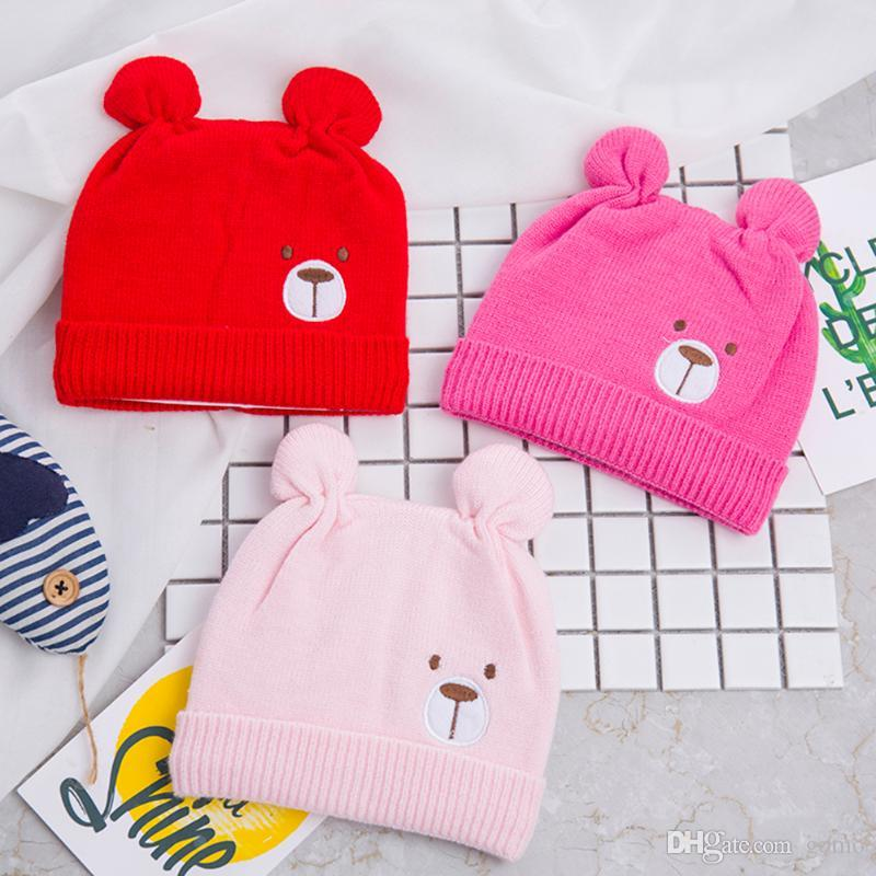 Baby Winter Keep Warm Hat Cartoon Bear Ears Knitted Baby Unisex Woolen Knitted Hat Cute Infant Cap For 0-12Months