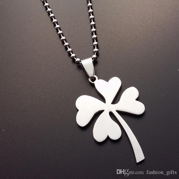 1 pcs aço inoxidável sorte trevo charme pingente colar de pétala flores grama simples planta amuleto mulher mãe homens presentes jóias