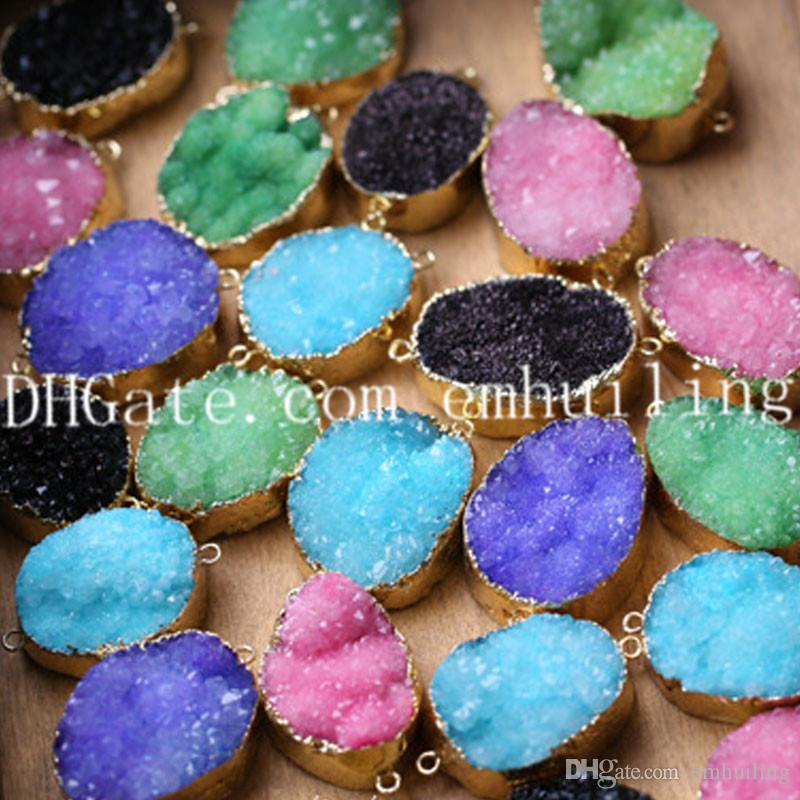 10Pcs Gold Plated Freeform 25mm-35mm Dyed Druzy Agate Geode Pendant Connector Double Bail Druzy Stone Connector Blue/Purple/Black/Pink/Green