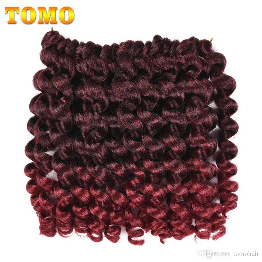 TOMO Hair 8Inch Jamaican Bounce Jumpy Wand Curl Crochet Braids 20Strands Ombre Kanekalon Synthetic Braiding Hair