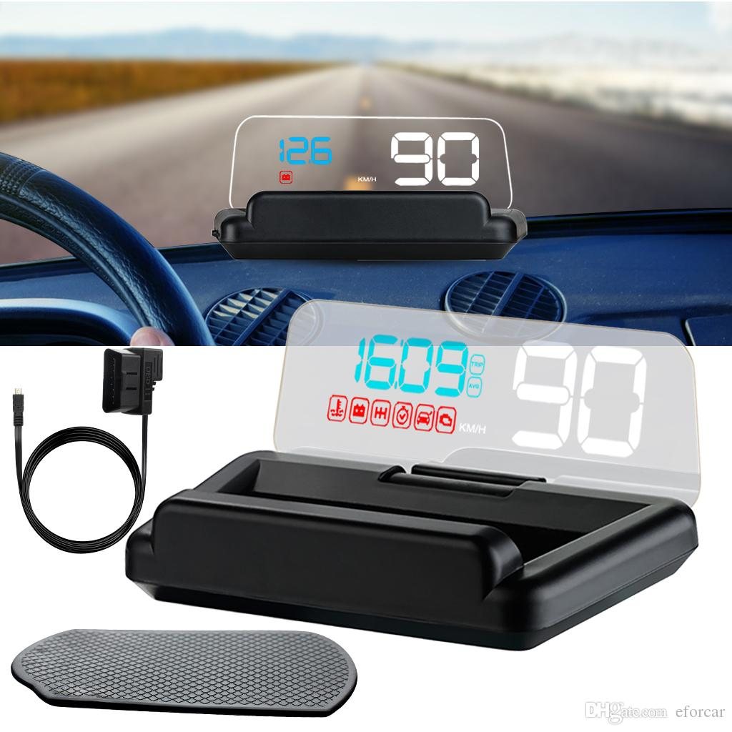 Car Head Up Display With Reflection Board Stereo Projecting No Double Image Display Speed RPM Voltage Multi Reminders Car HUD