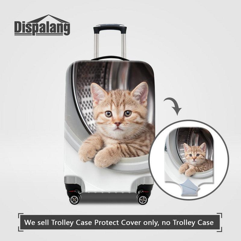 Venta al por mayor del protector de equipaje Maleta cubierta para caja de la carretilla 18-30 pulgadas linda del gato impresión animal de la cubierta resistente a los arañazos de polvo impermeable