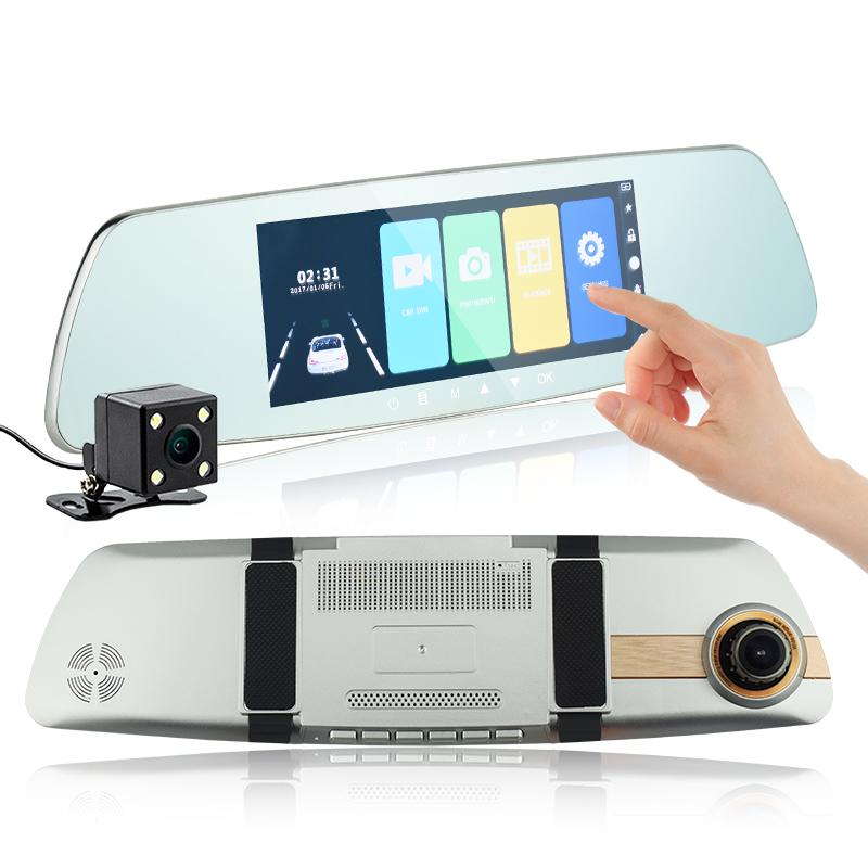 """7"""" touch screen car DVR 2Ch auto registrator mirror vehicle driving recorder 170° wide view angle super night vision loop recording G-sensor"""
