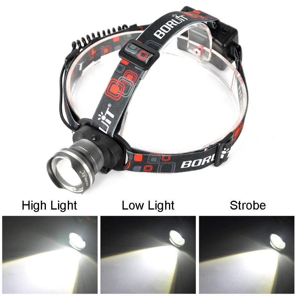 Hunting Boruit 2000lm Gray Head Lamp Xml T6 Led Headlight Adjustable Focus Head Light Flashlight Headlamp For Camping Fishing Hunting