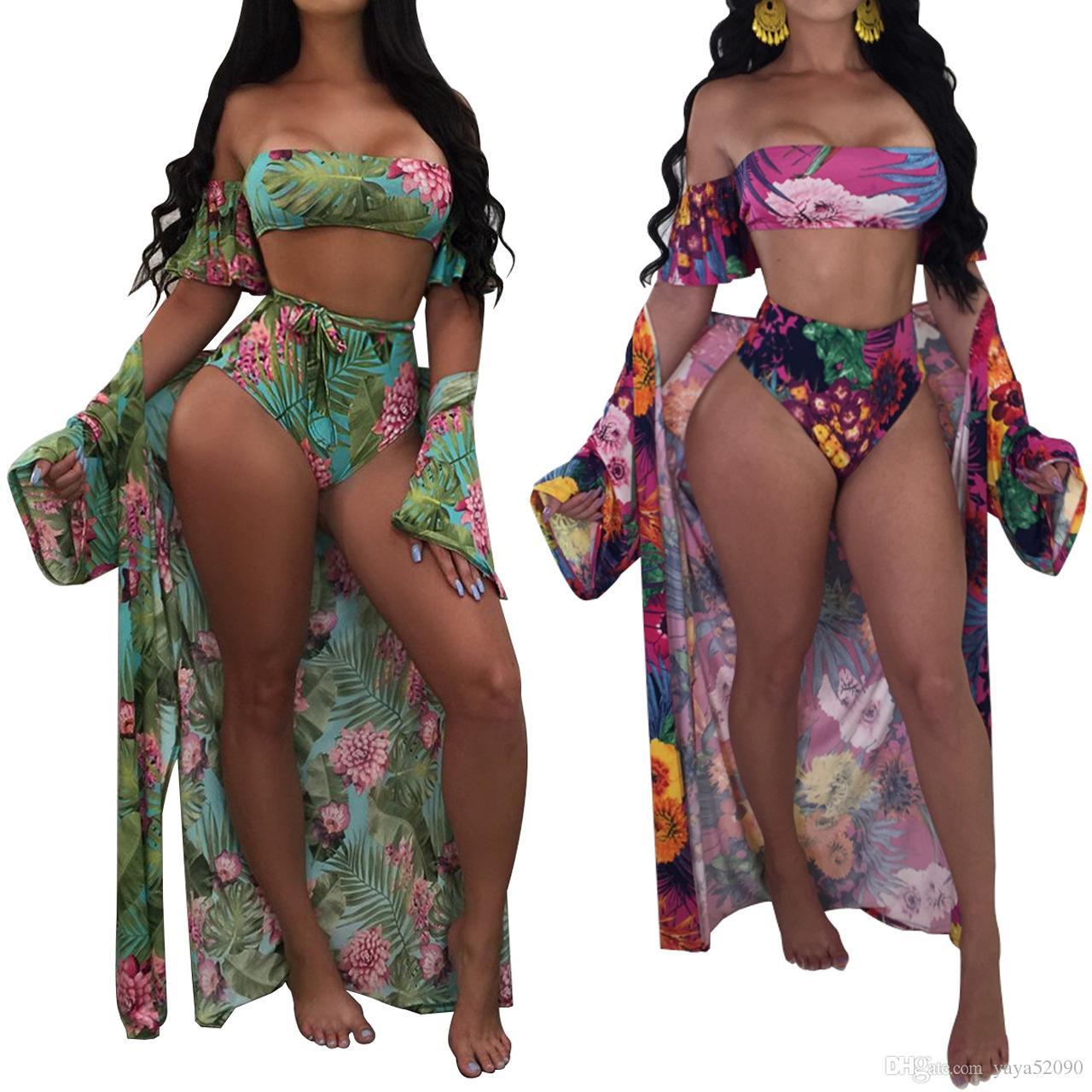 Femmes 2018 une pièce maillot de bain Sexy Beach Wear Bikinis ensemble maillot de bain Plus Taille Sling maillot de bain + manches longues plage Cover up sarong