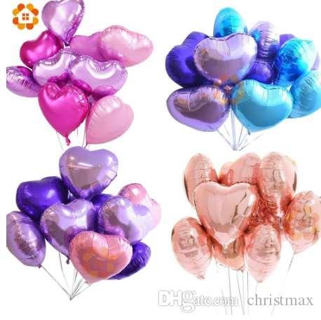 18 polegadas 10 pcs Festa Do Chuveiro de Bebê Folha Balão PinkBlue Em Forma de Coração de Hélio Air Ball Decoração de Festa de Aniversário de Casamento Balões