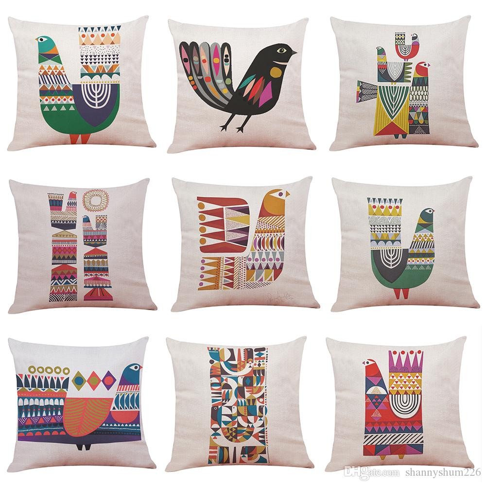 Novelty Geometric Bird Printed Linen Cushion Cover Home Office Sofa Square Pillow Case Decorative Cushion Covers Pillowcases (18*18inch)