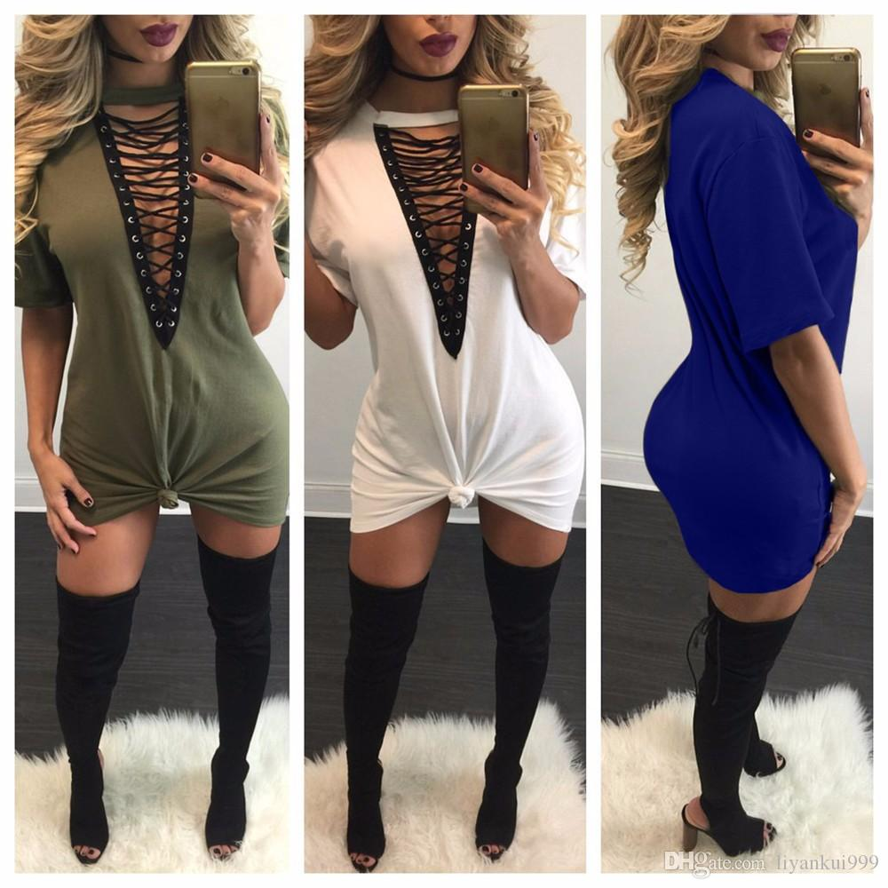 Hot Selling Dresses for Women Clothes Fashion Long Sleeve Autumn Casual Loose V Neck T-Shirt Plus Size Dresses 8 color S-2XL