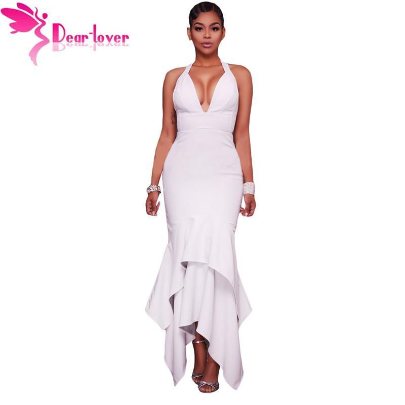 Уважаемый любитель сексуальные вечерние платья летний клуб оборками Белый Крест назад асимметричный подол макси платье платья vestidos де феста LC61524
