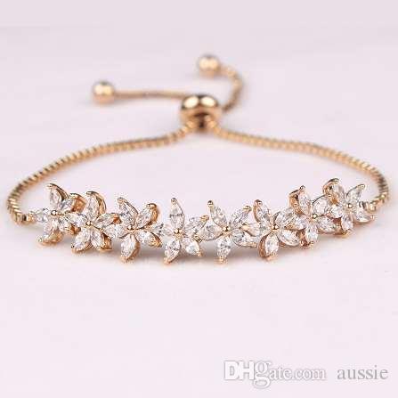 Sparkling Cubic Zirconia Crystal Flower Design Pull-string Zirconium Wedding Bracelets for Girls or Wedding