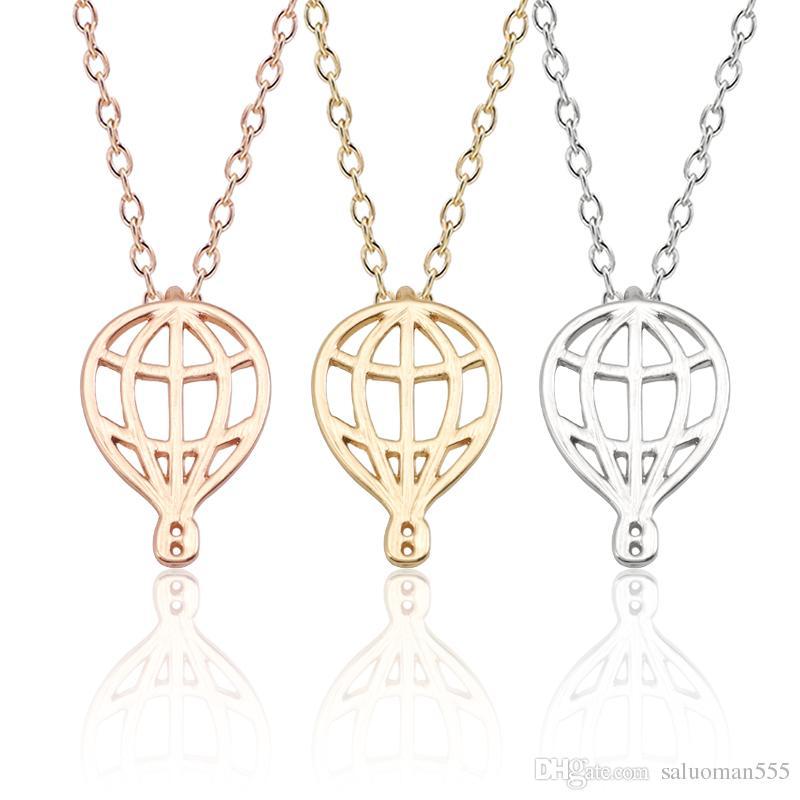 Trendy Necklace For Women Hip Hop Hot Air Balloon Pendant Men Jewelry Hollow Double Side Balloon Metal Xmas Necklaces&Pendants
