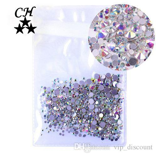 Mix Tailles 1000PCS / Paquet Crystal Clear AB Non Hotfix Flatback Strass ongles Strass pour ongles Nail Art 3D Gems Décoration