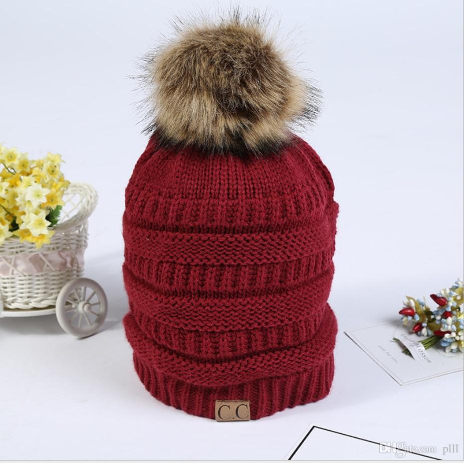 0fc4341e827 ... Amazon outdoor warm hair ball cap Korean winter knitted wool hat ...