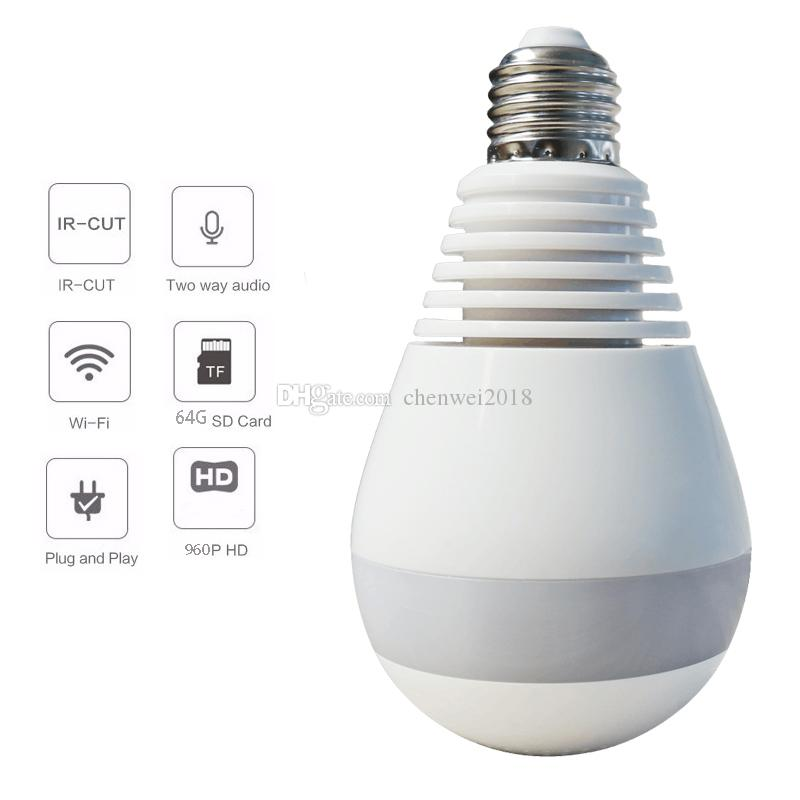 1.3MP 2.0MP Wireless Wifi P2P IP Camera Bulb Light 360 Degree FishEye VR Panoramic camera Home CCTV Security Bulb Camera