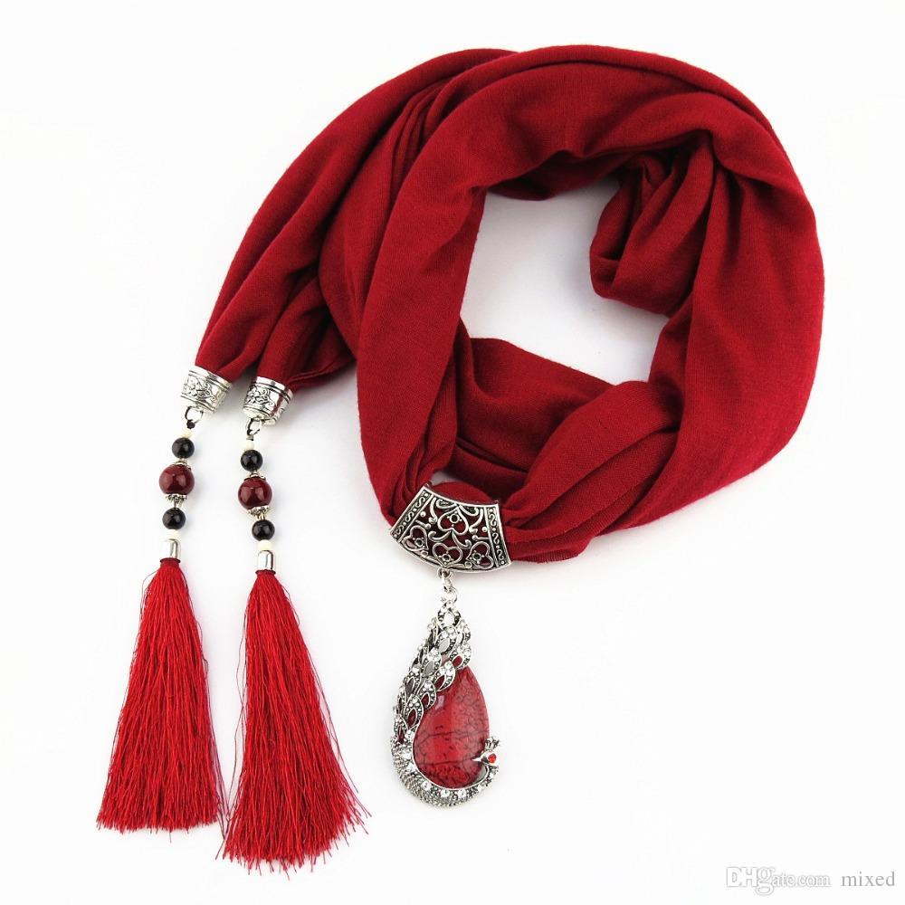 женщины шарф кулон ожерелье природа камень кулон ожерелье бахрома кисточка шарф ювелирные изделия с бисером этнические украшения