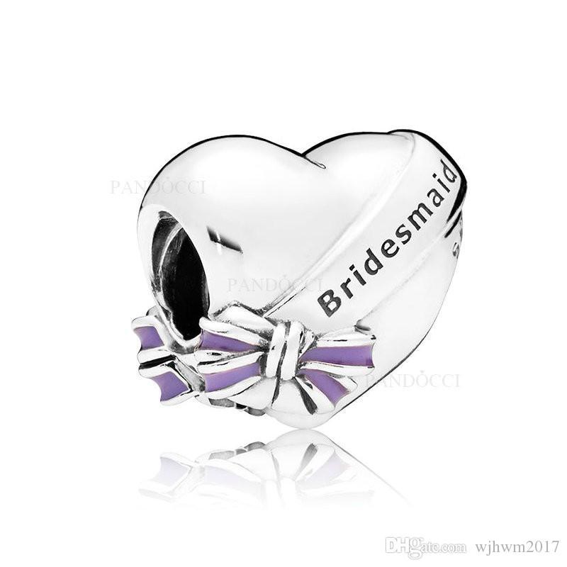 Новый подлинный 925 стерлингового серебра эмаль лучший подружка невесты сердце шарик Шарм Fit бренд браслет Браслет для женщин DIY ювелирных изделий